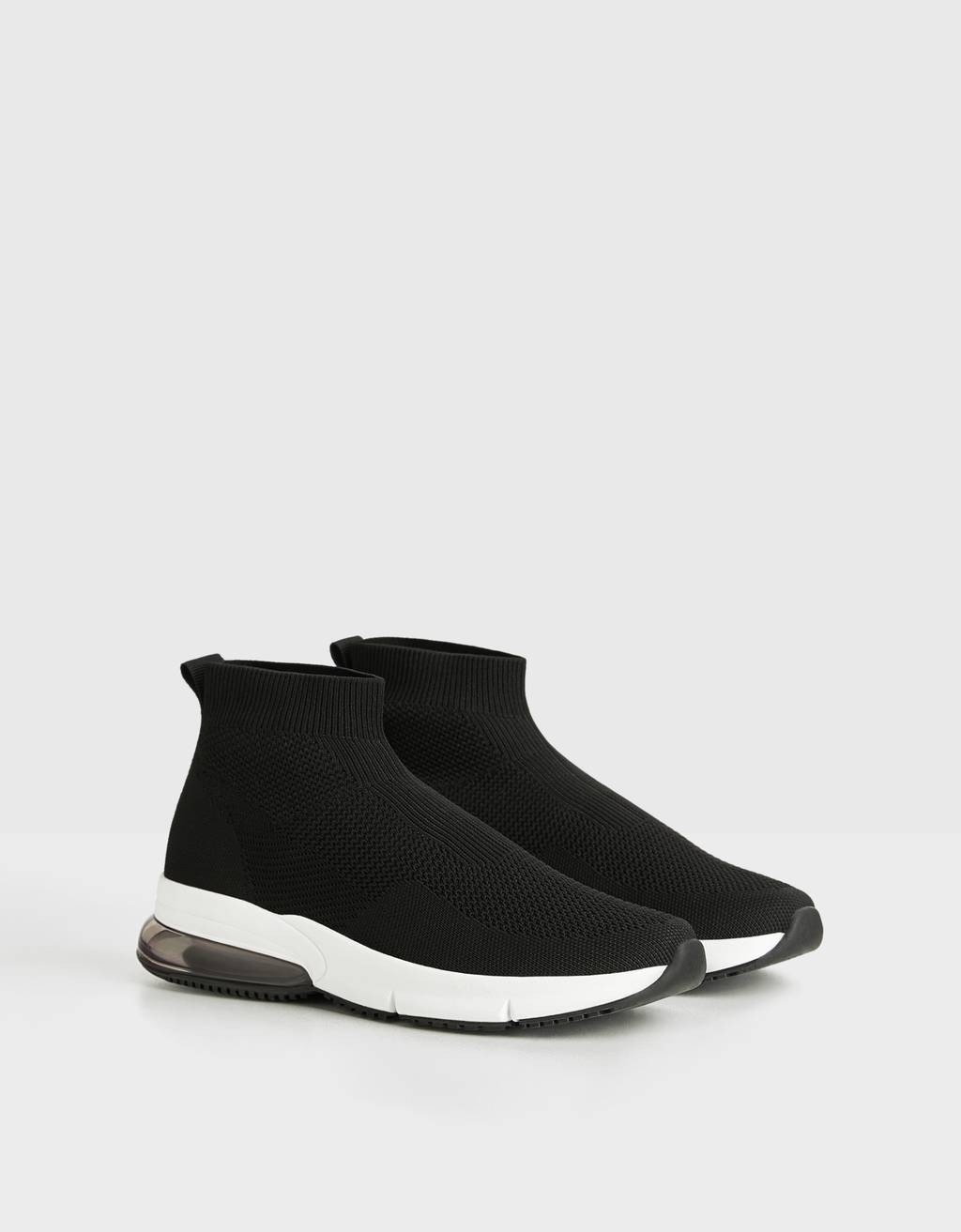 Sock-style mesh high-top trainers