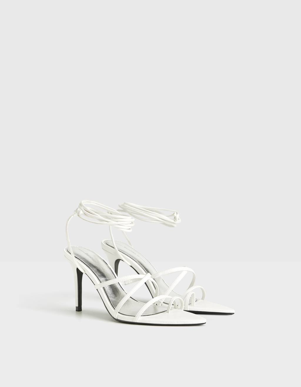 High-heel sandals with straps and tie detail