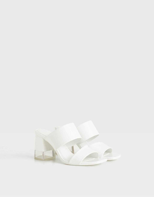 Sandalen mit offener Ferse und Methacrylat-Absatz