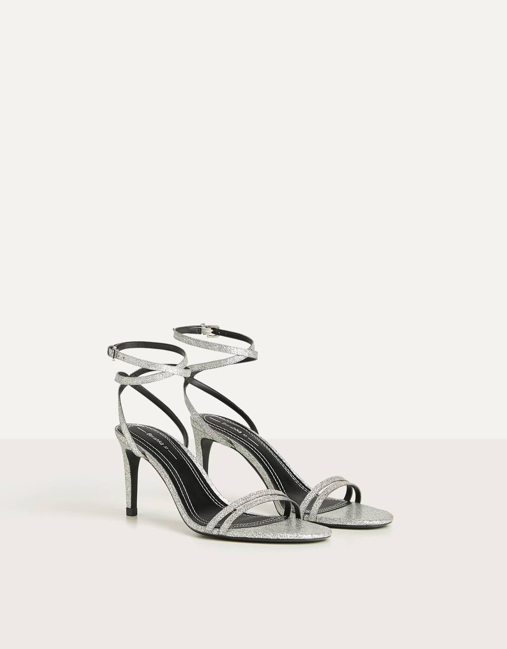 High-heel strappy sandals with double ankle strap