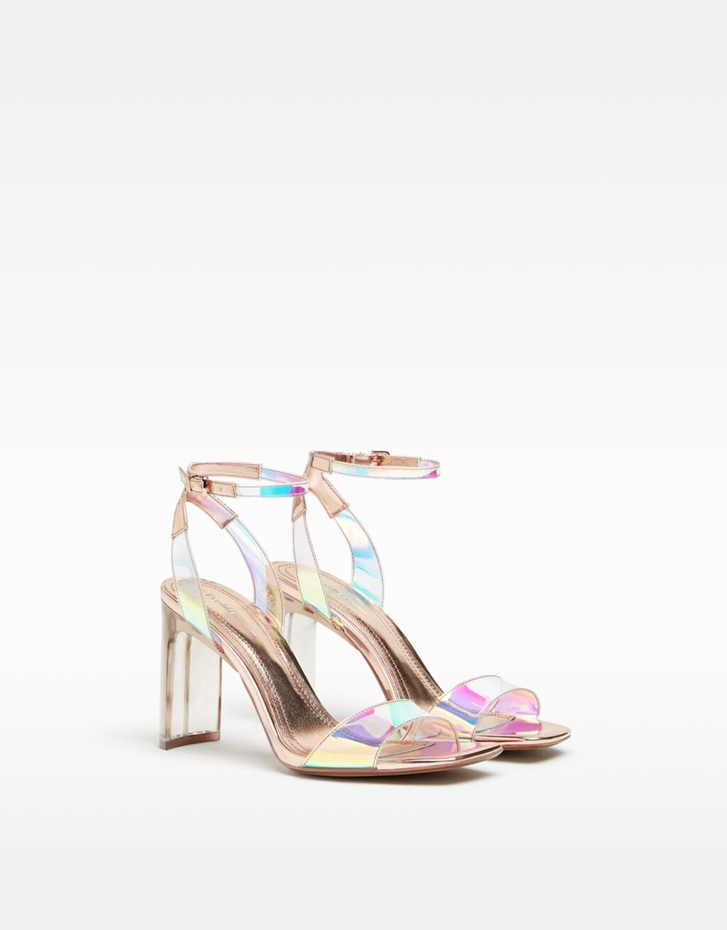 Iridescent vinyl high-heel sandals