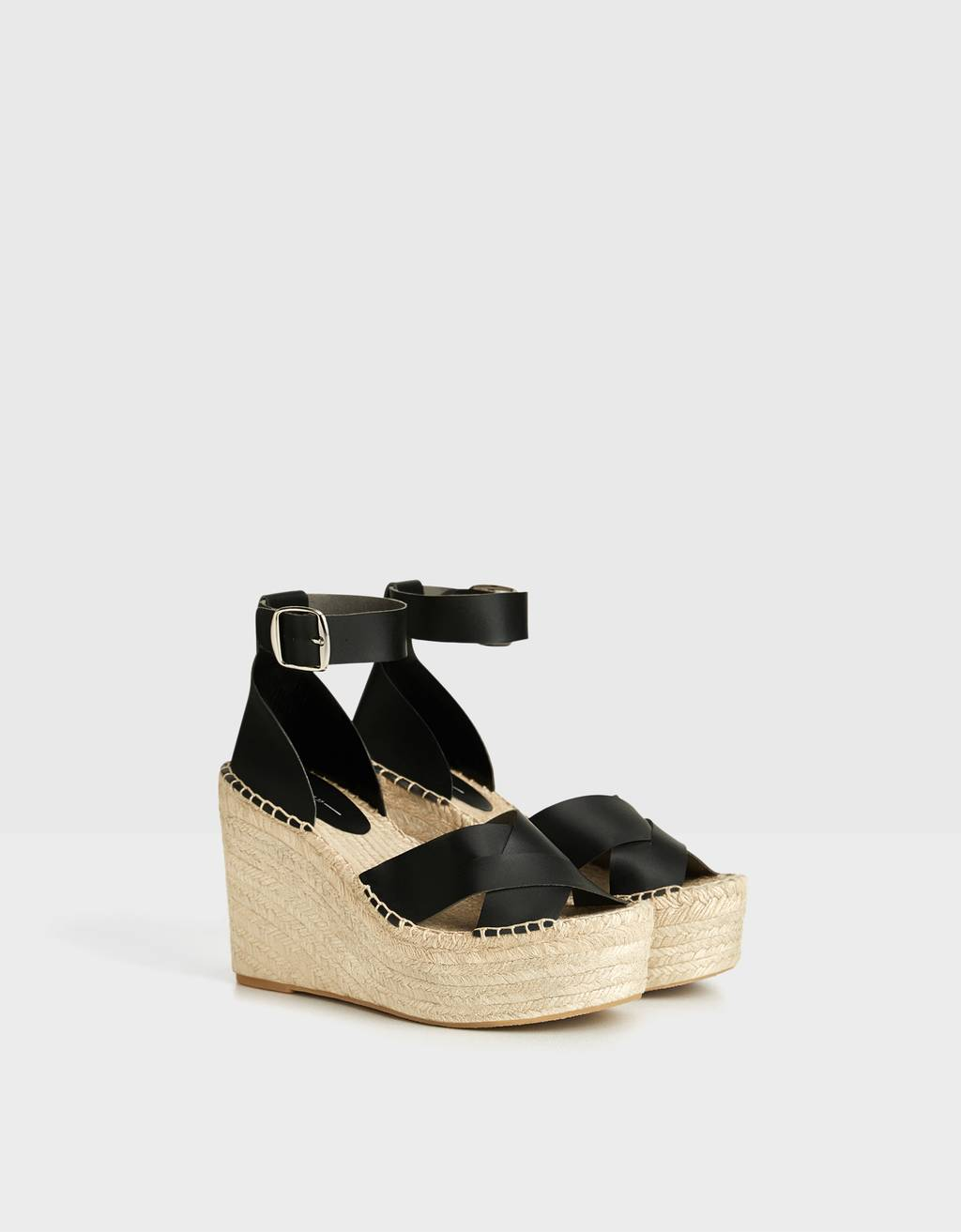 Jute wedges with ankle strap