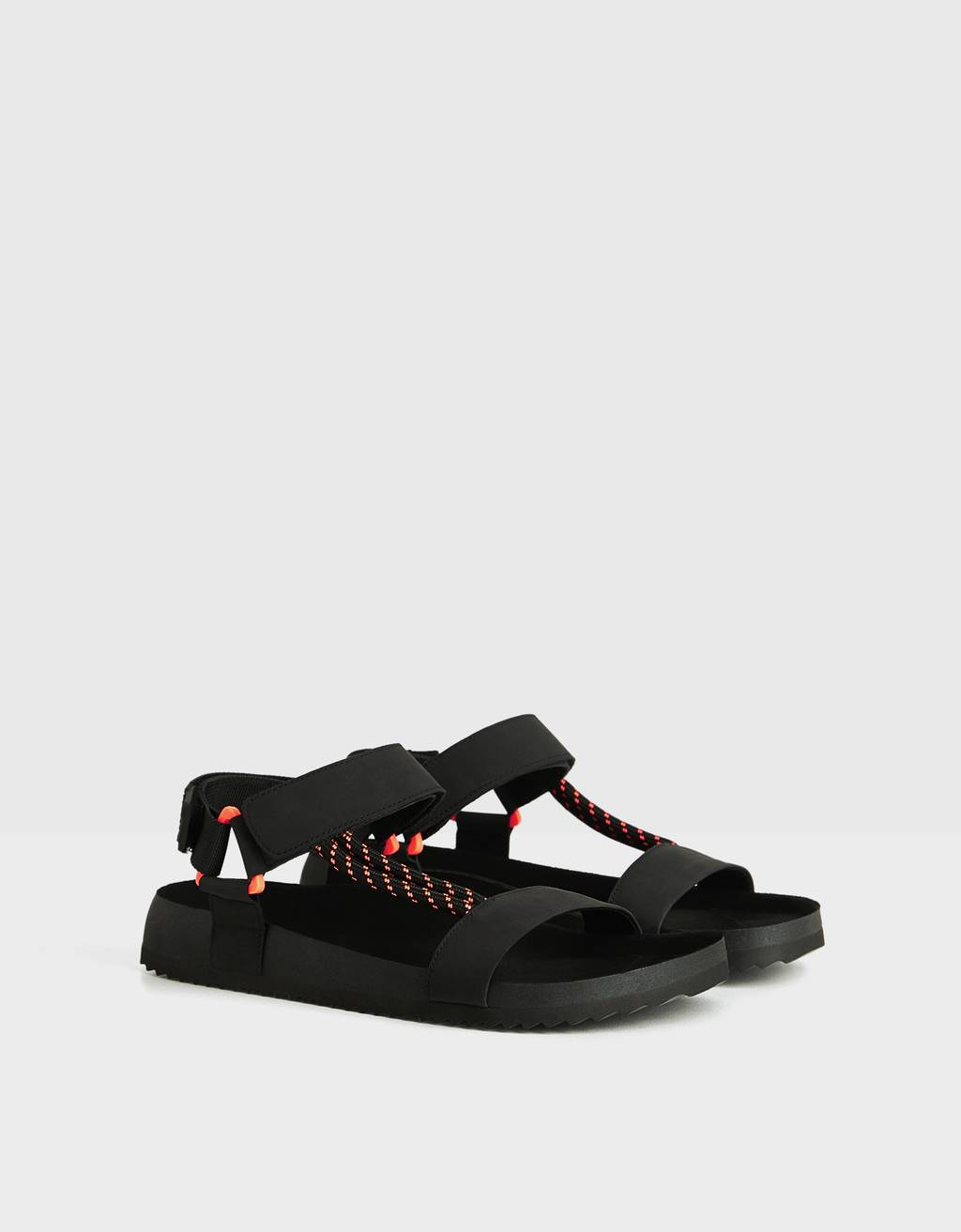 Men's strappy sandals with neon detail