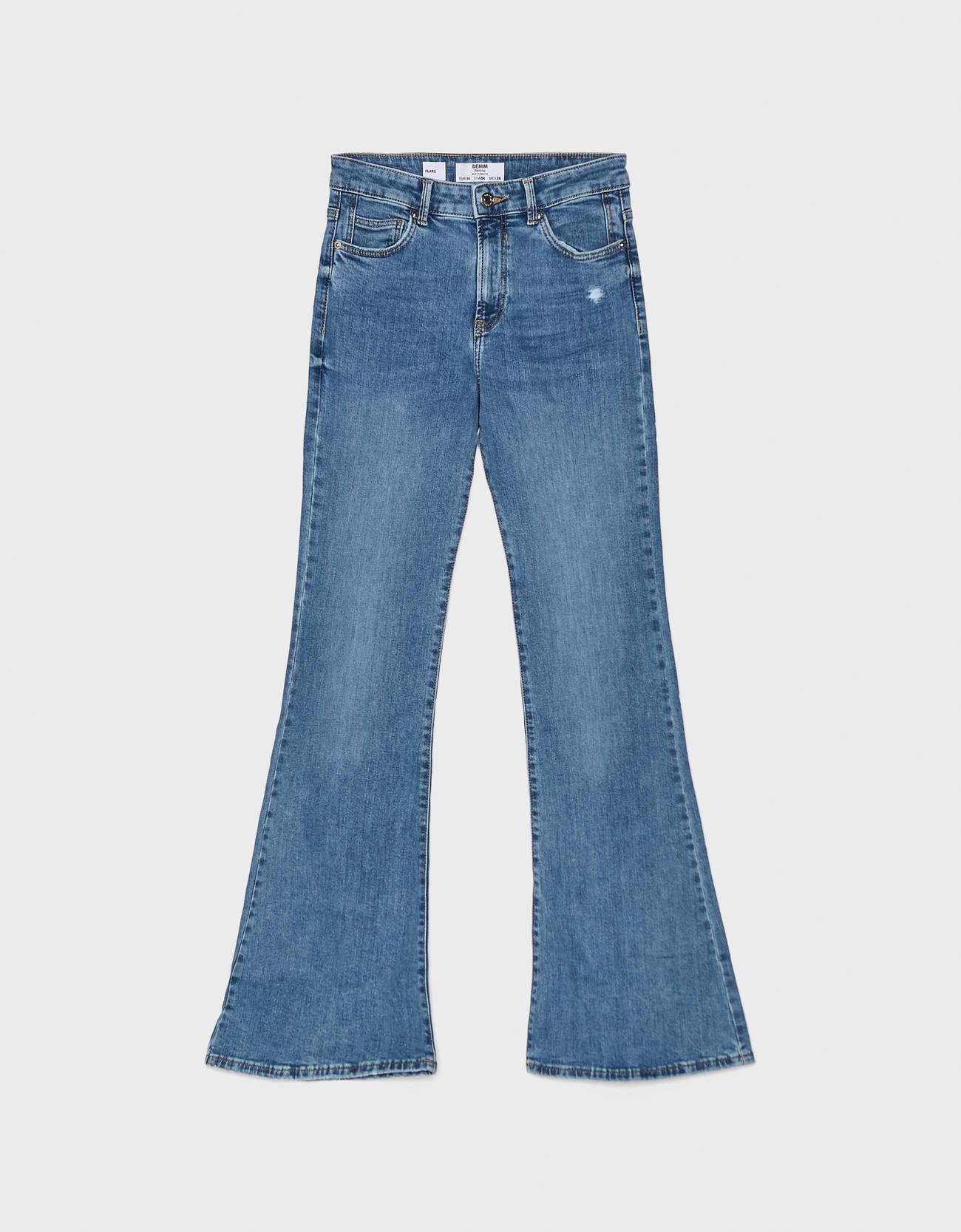 Расклешенные джинсы Синий застиранный Bershka