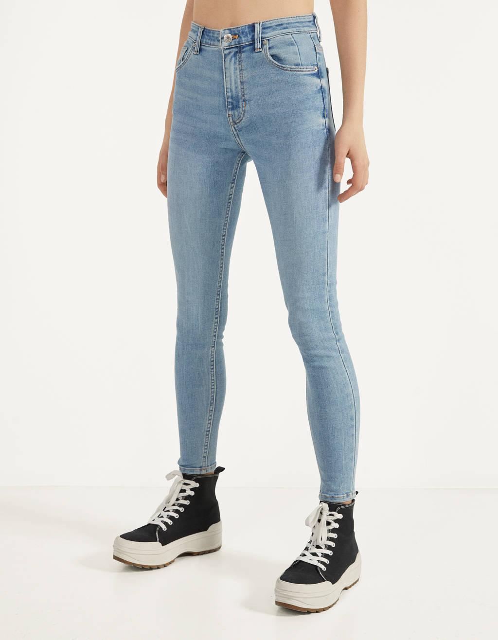 JEANS da Donna High Waist Pantaloni Con Borchie S 36 M 38 Jeans Stretch Pantaloni Alta Bund
