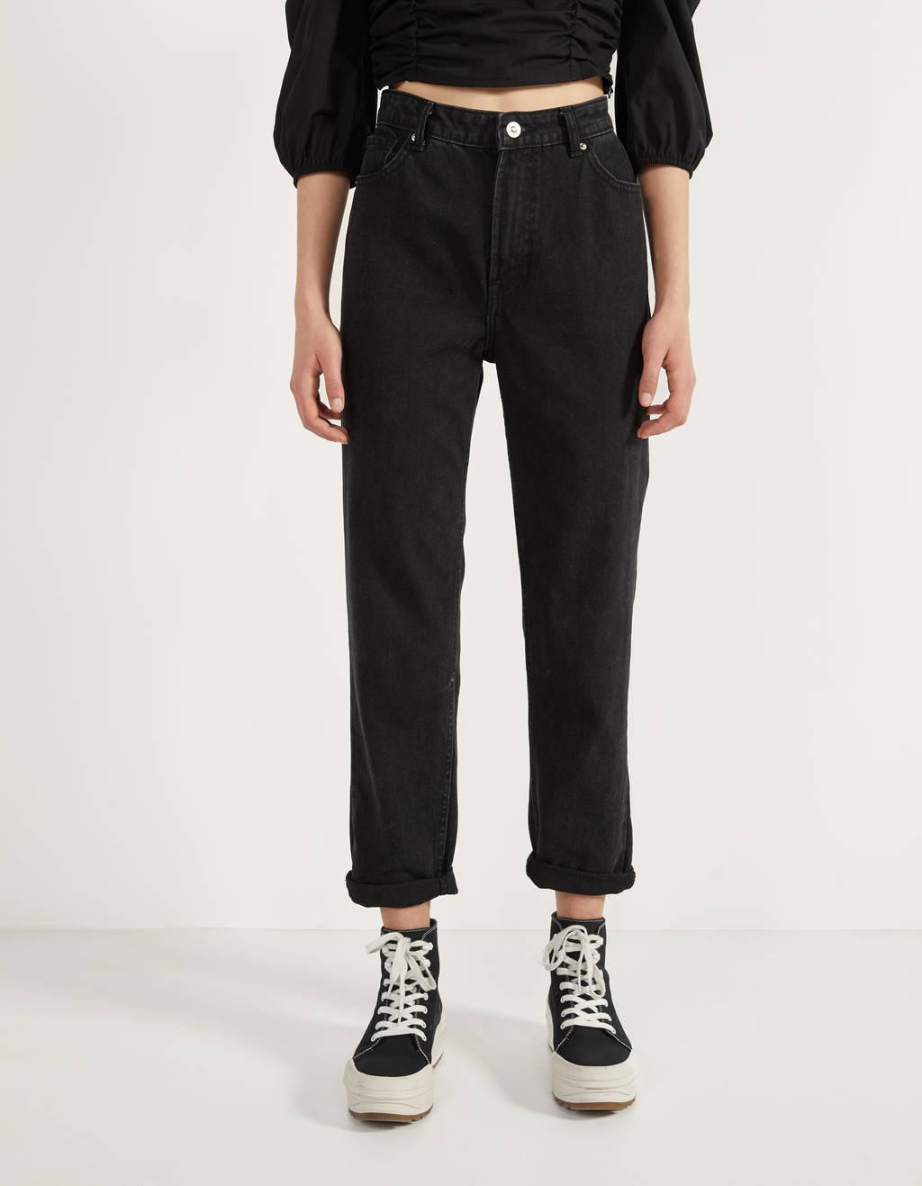 Mom-Fit-Jeans mit hohem Bund