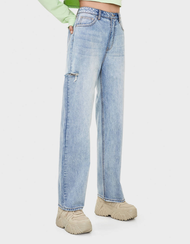 Verbazingwekkend Wijde jeans met scheuren - Blazers - Bershka Netherlands XF-78