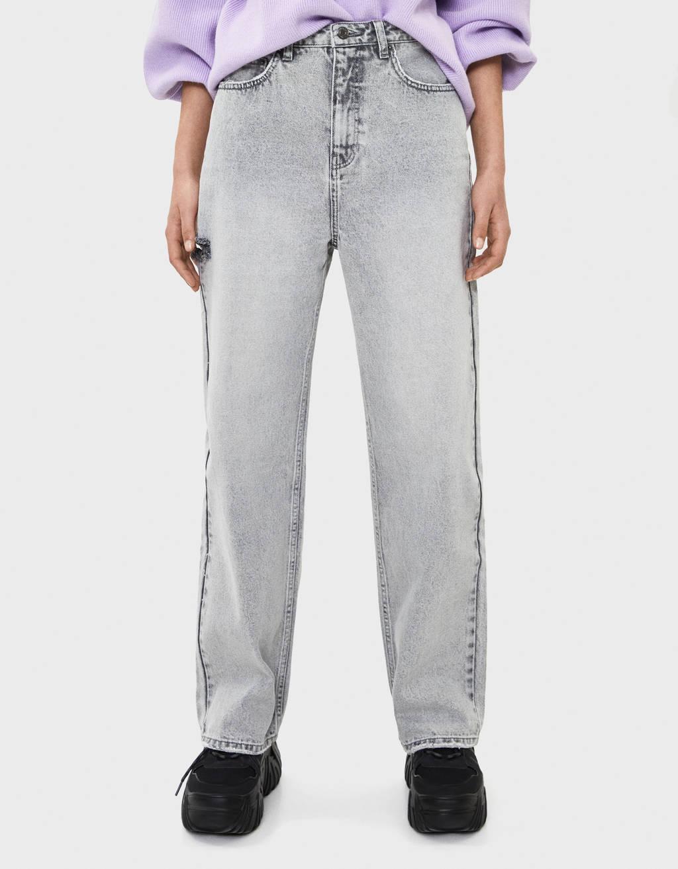 Широкие джинсы с разрезами