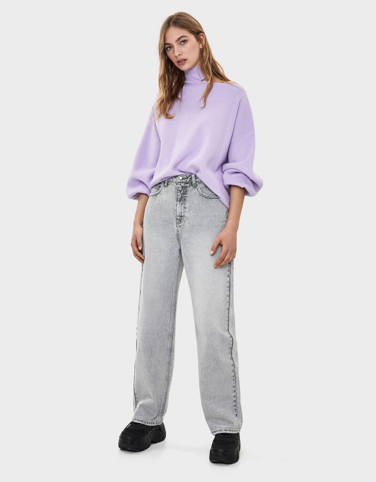 Широкие джинсы с разрезами Серый Bershka