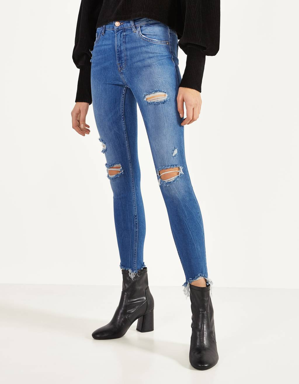 Skinny-Fit-Jeans mit halbhohem Bund