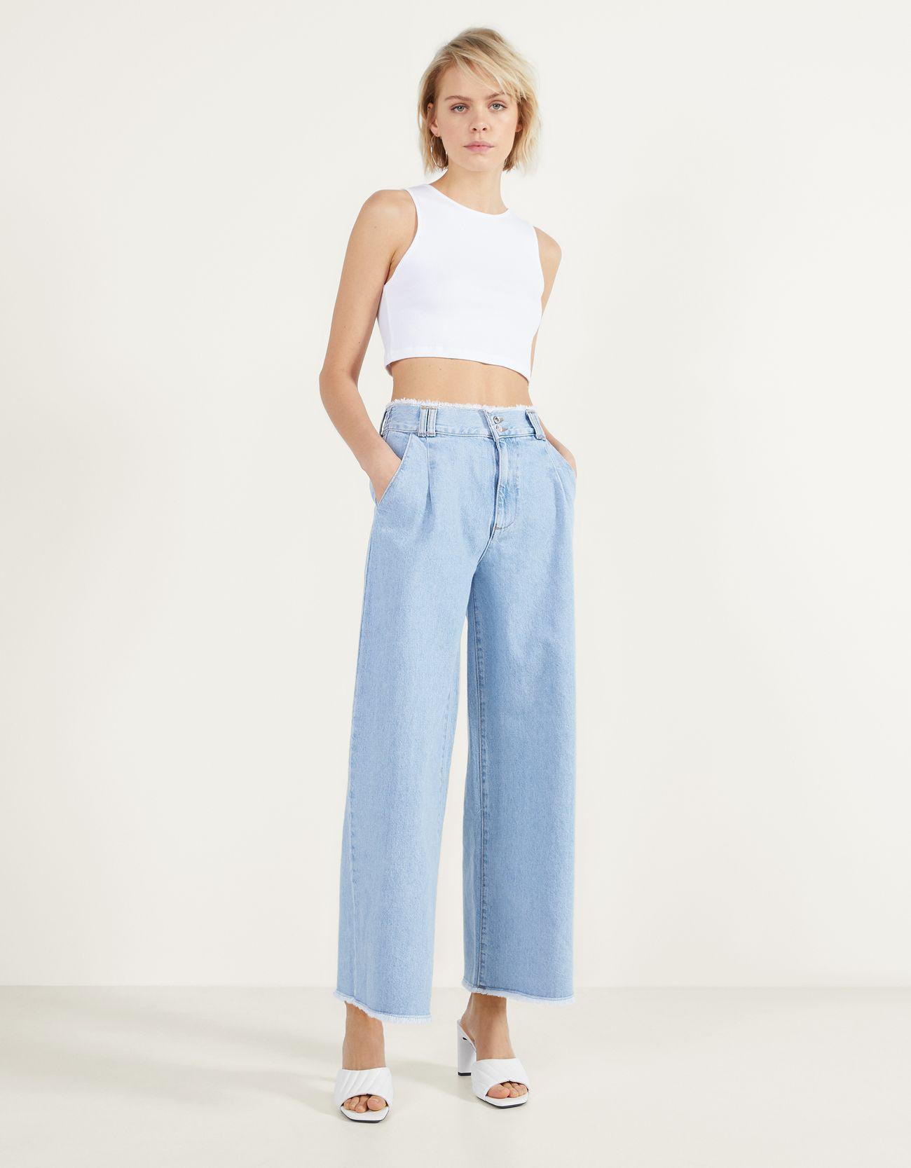 Джинсовые брюки-кюлоты с необработанной кромкой Синий застиранный Bershka