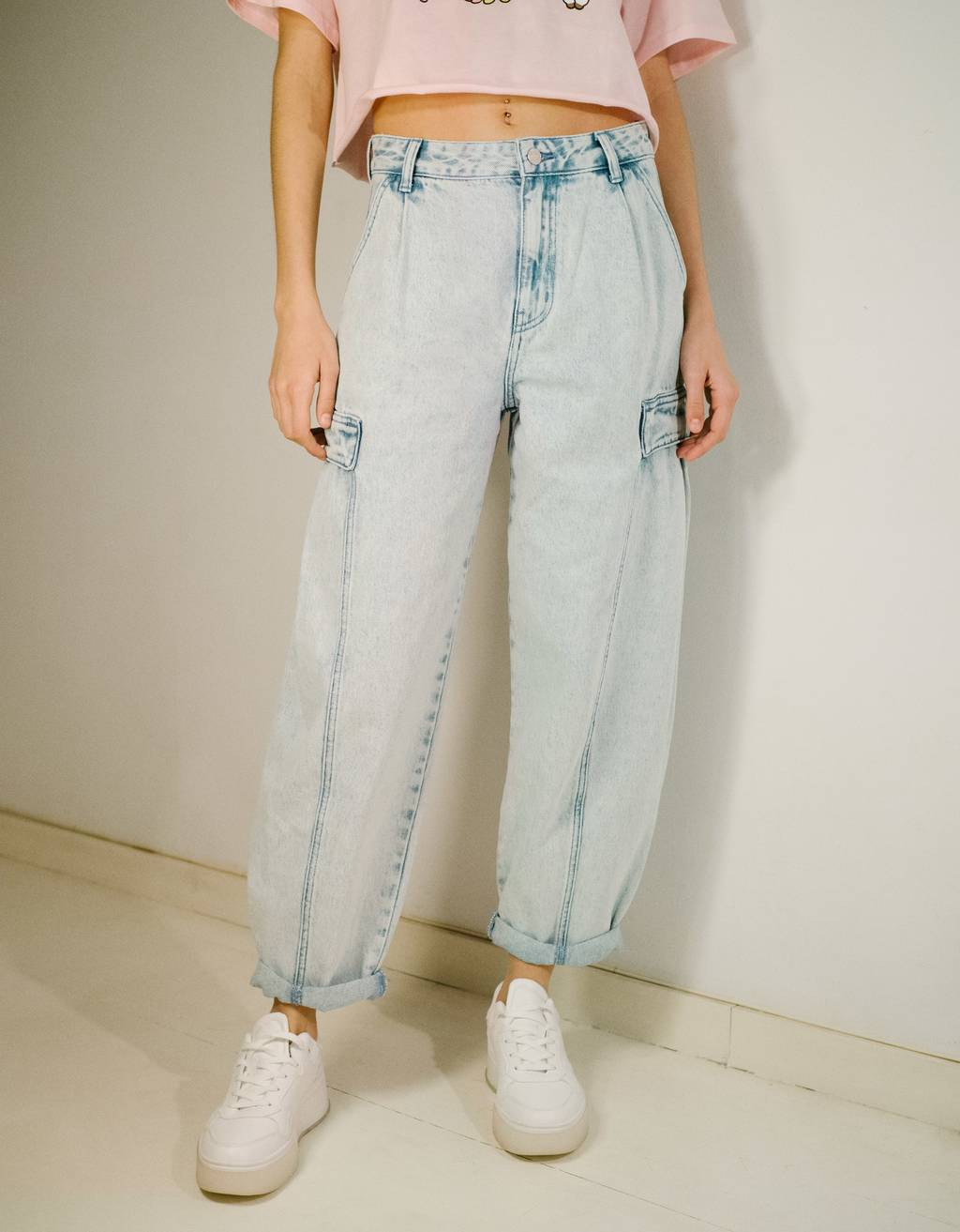 Acid-wash balloon-fit jeans