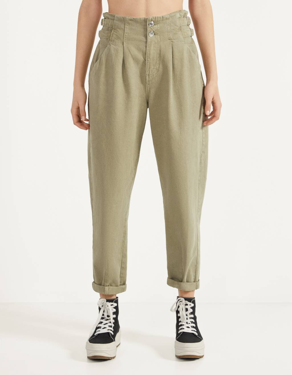 High-rise pants with belt loops