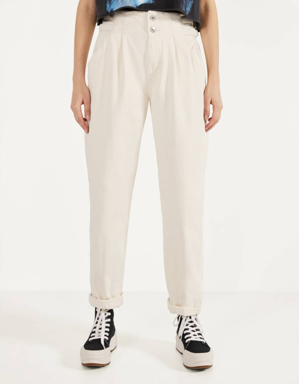 High waist trousers with belt loops