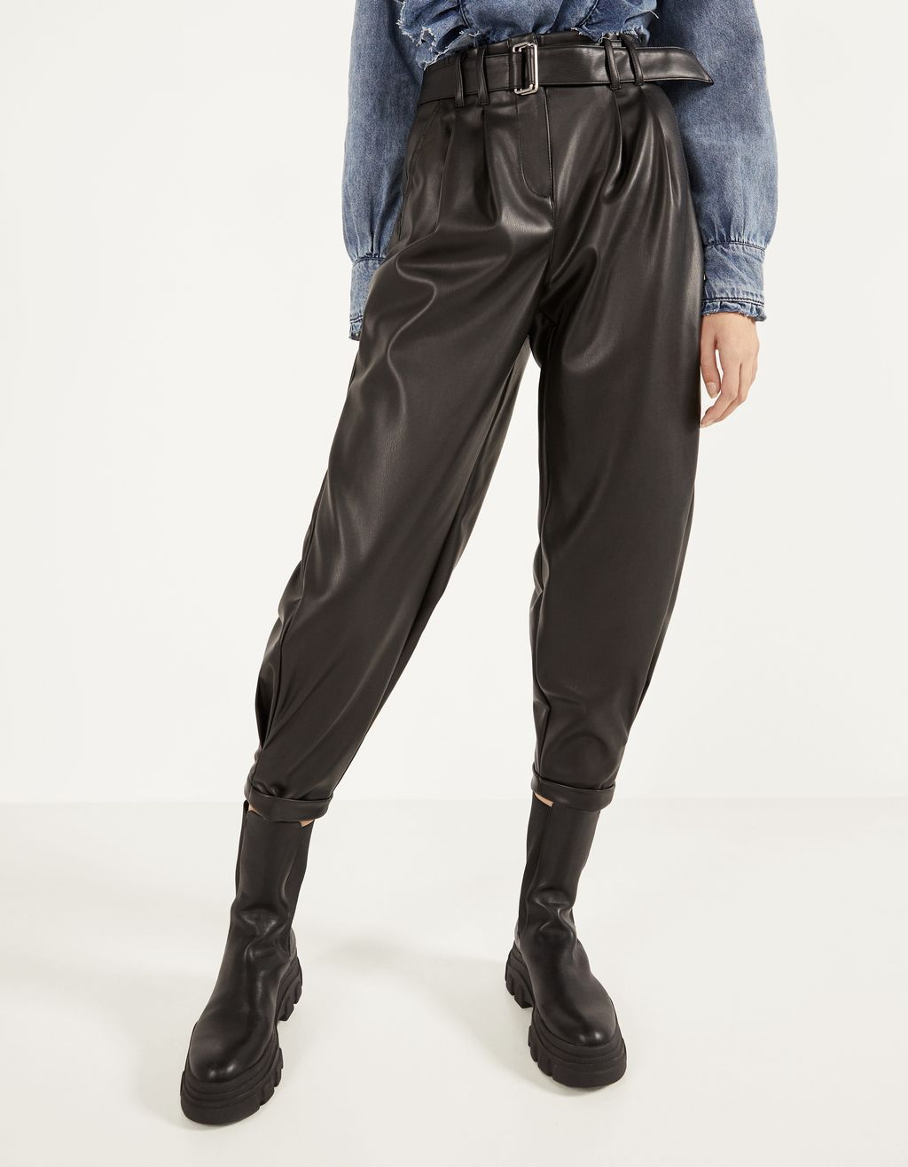 Pantalon ample en similicuir