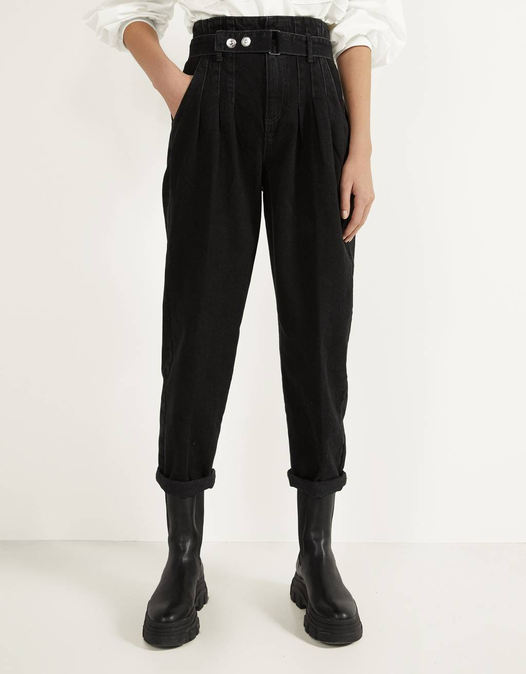 Slouchy pants with belt