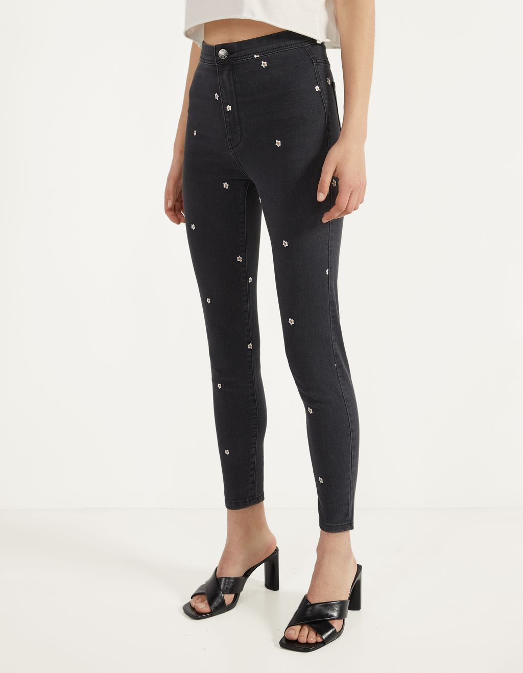 High-waist jeggings with embroidery
