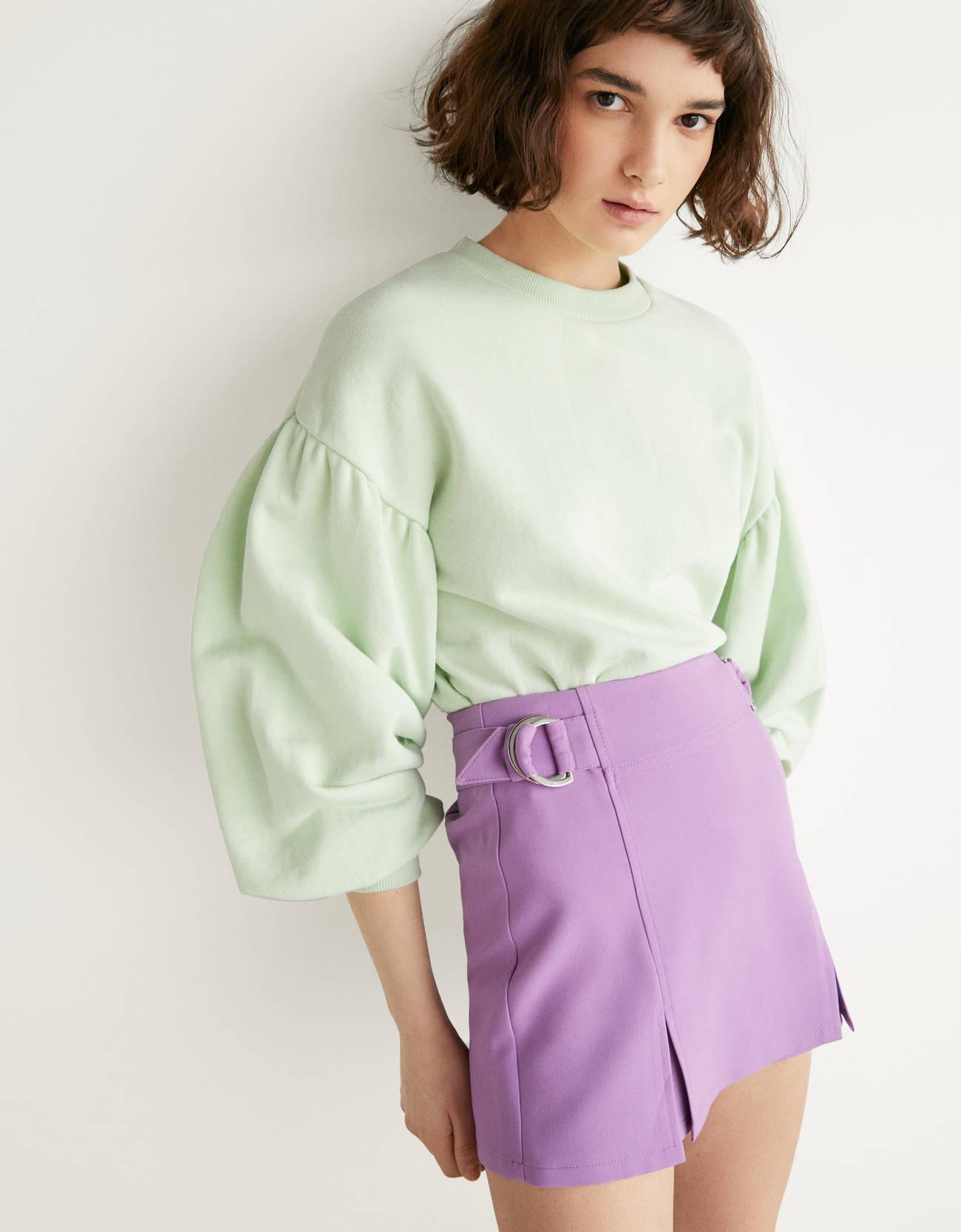 Юбка-шорты с деталями в виде колец D-образной формы Фиолетовый Bershka