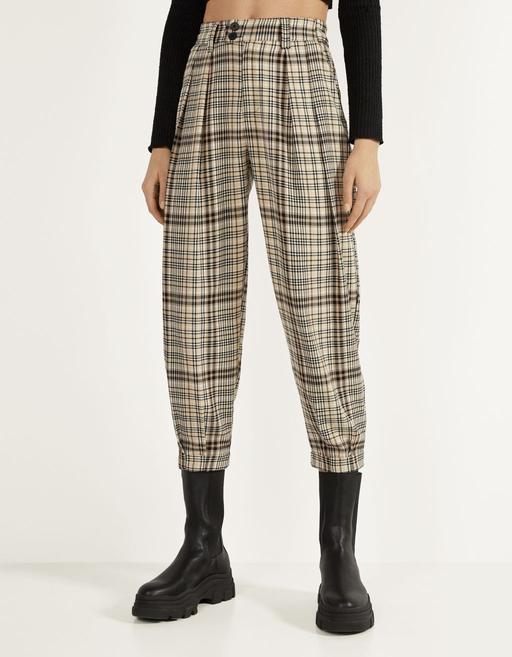 Check slouchy trousers