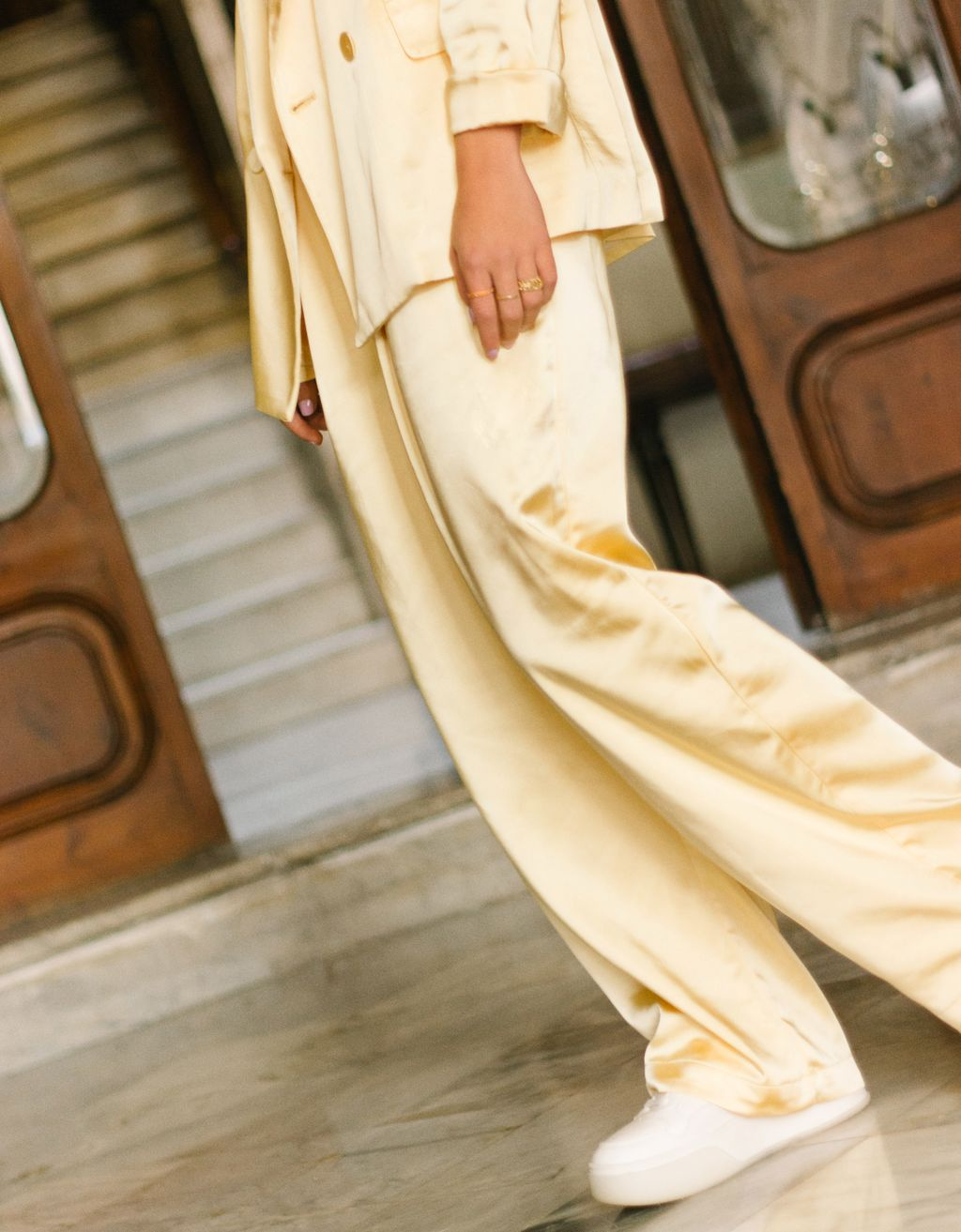 Wide-leg satin trousers