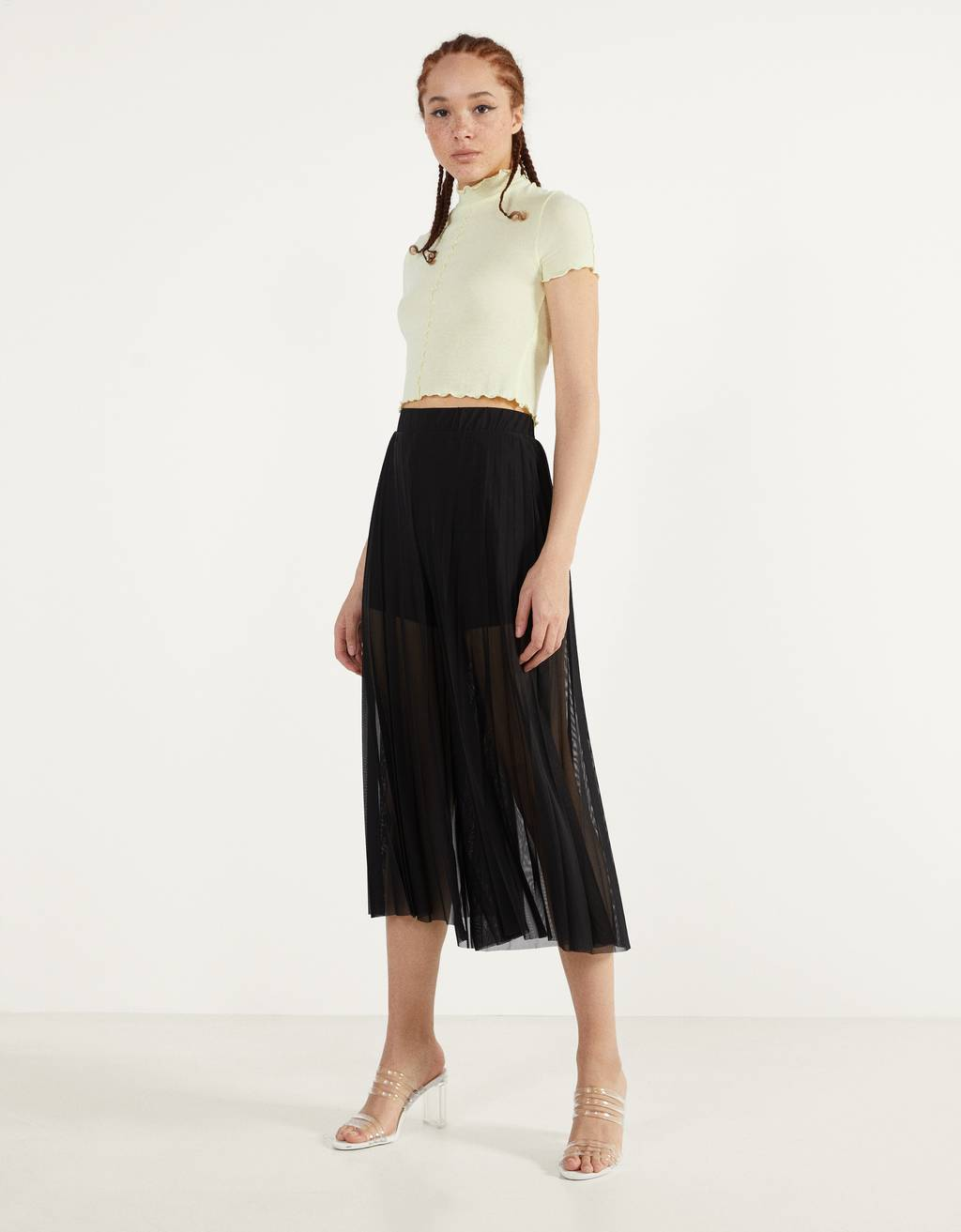 Pantaloni wide leg in tulle