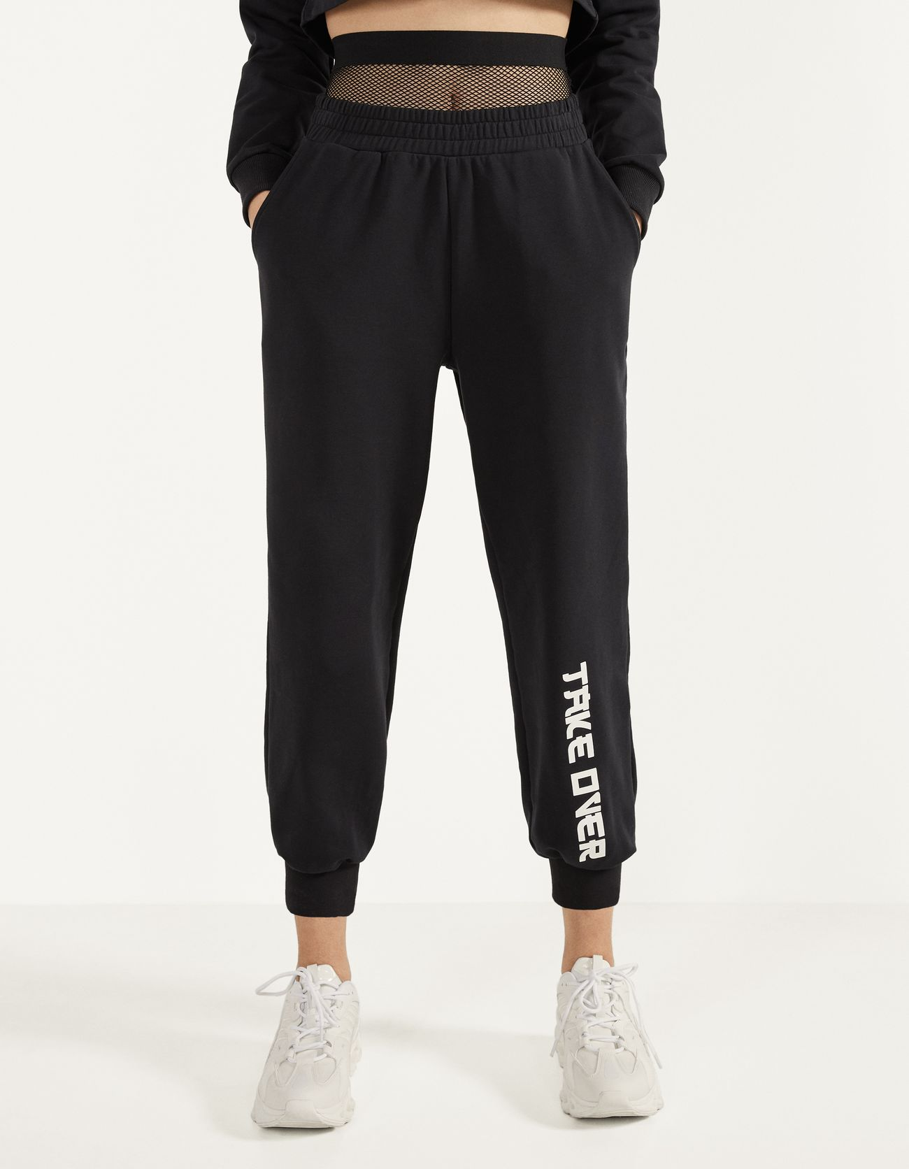 Joggers with mesh detail