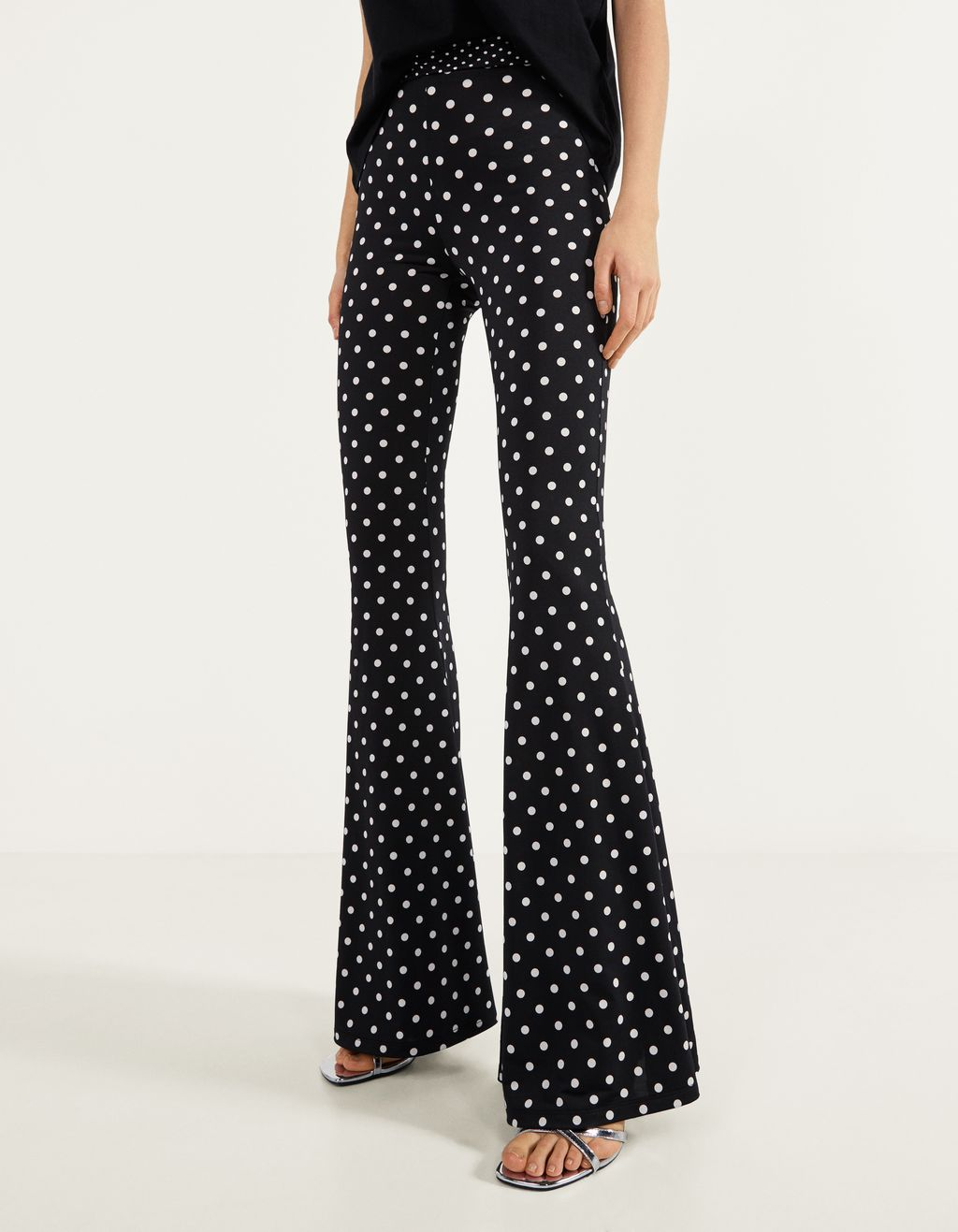 Polka dot flare fit trousers
