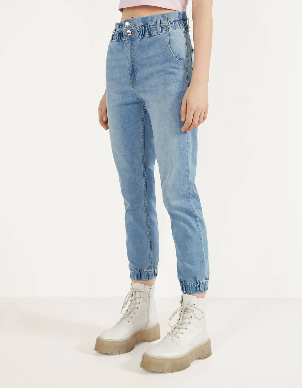 Paperbag jeans in joggingstijl