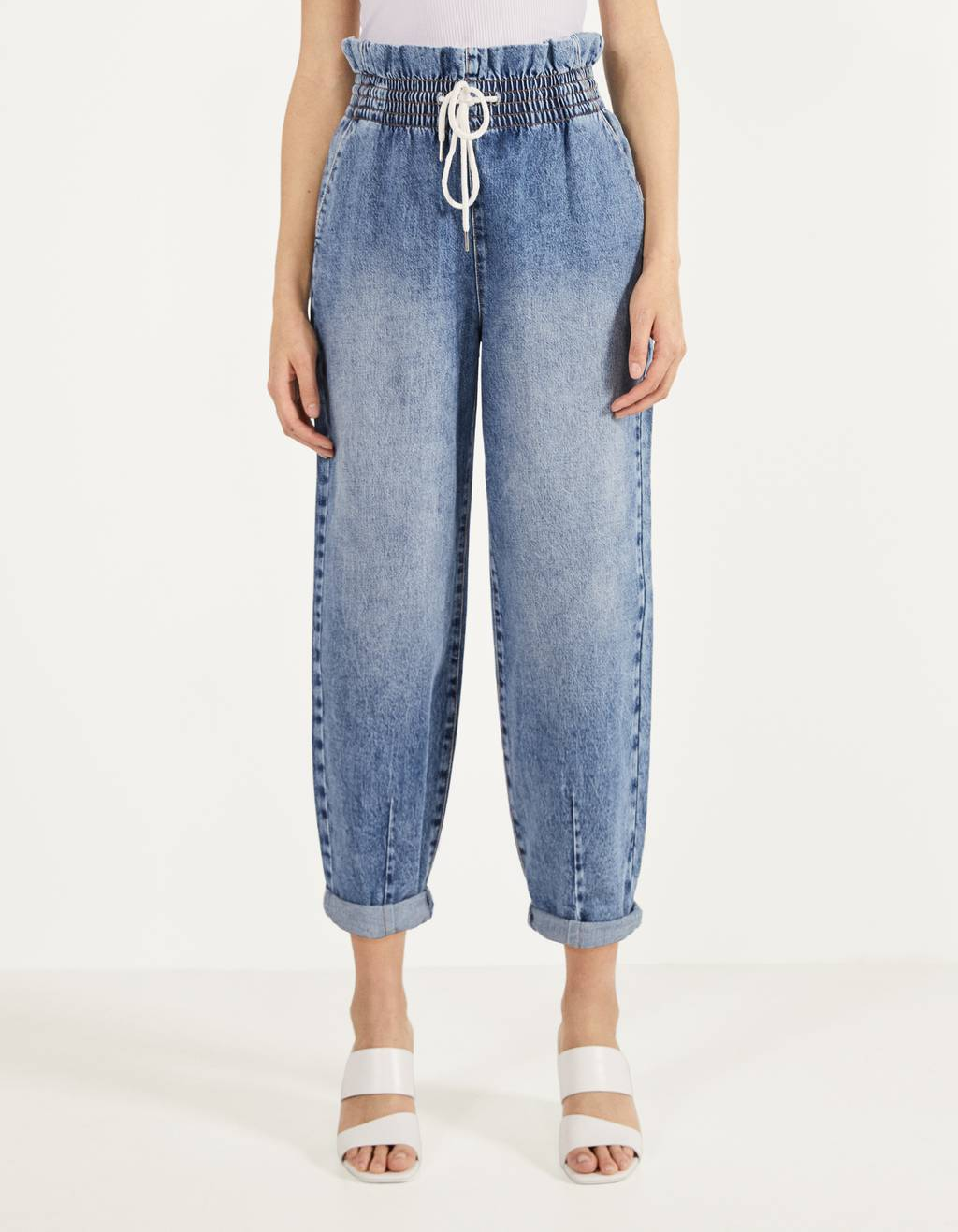 Balloon Fit jeans met elastiek in de tailleband