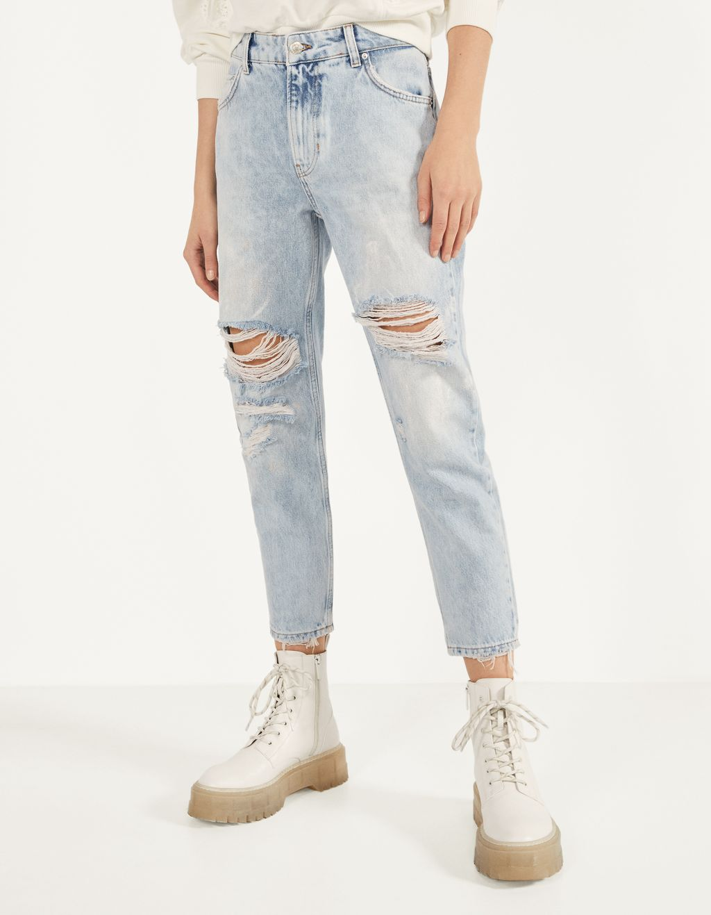 Slim fit jeans with paint detail