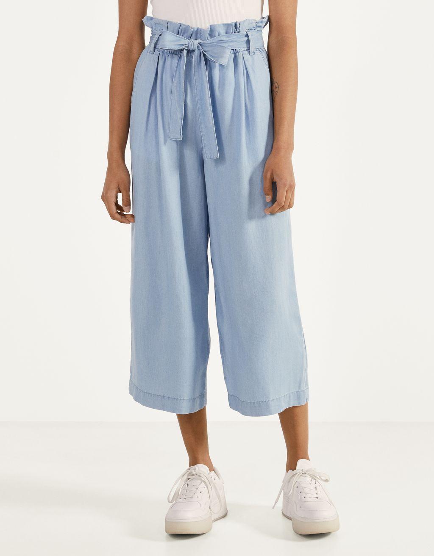 Belted Tencel® culotte jeans
