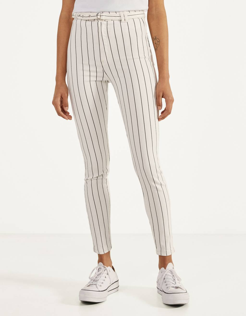 Belted high-rise pants