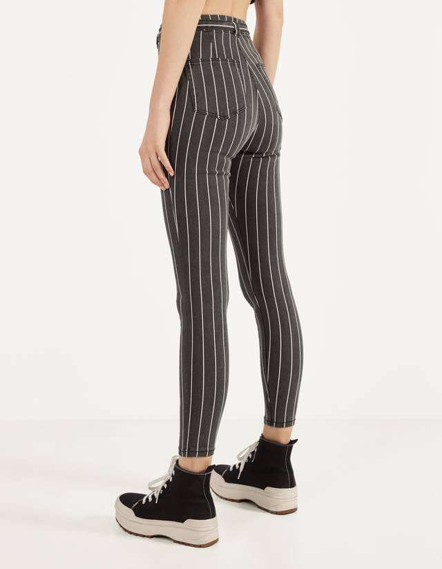 Belted High Waist Trousers Plain Bershka Portugal