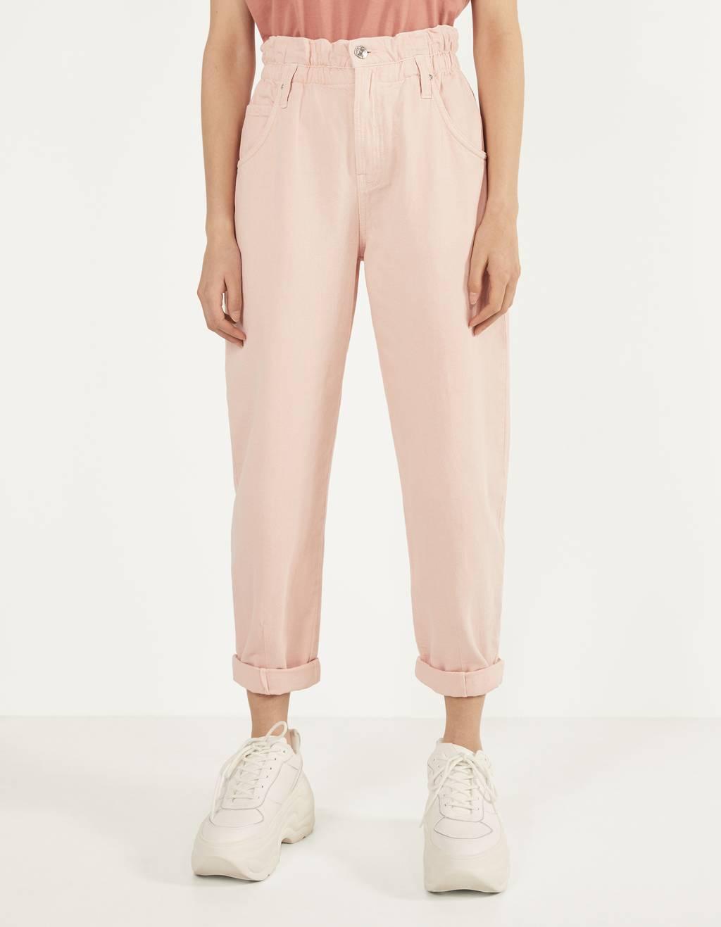 Pantaloni slouchy cu betelie elastică