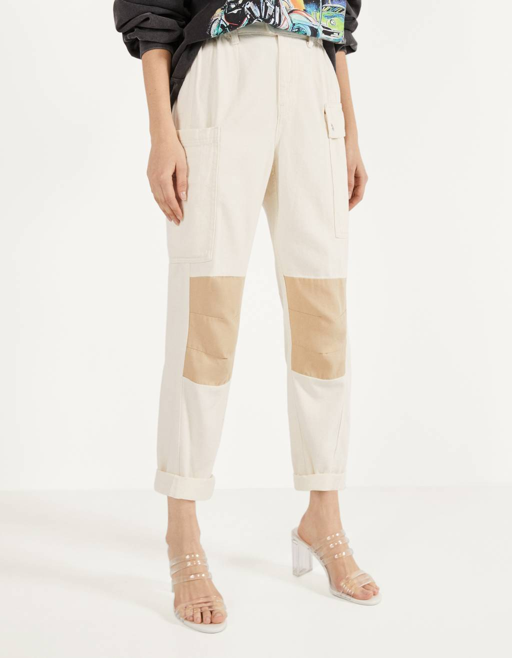 Contrast cargo trousers