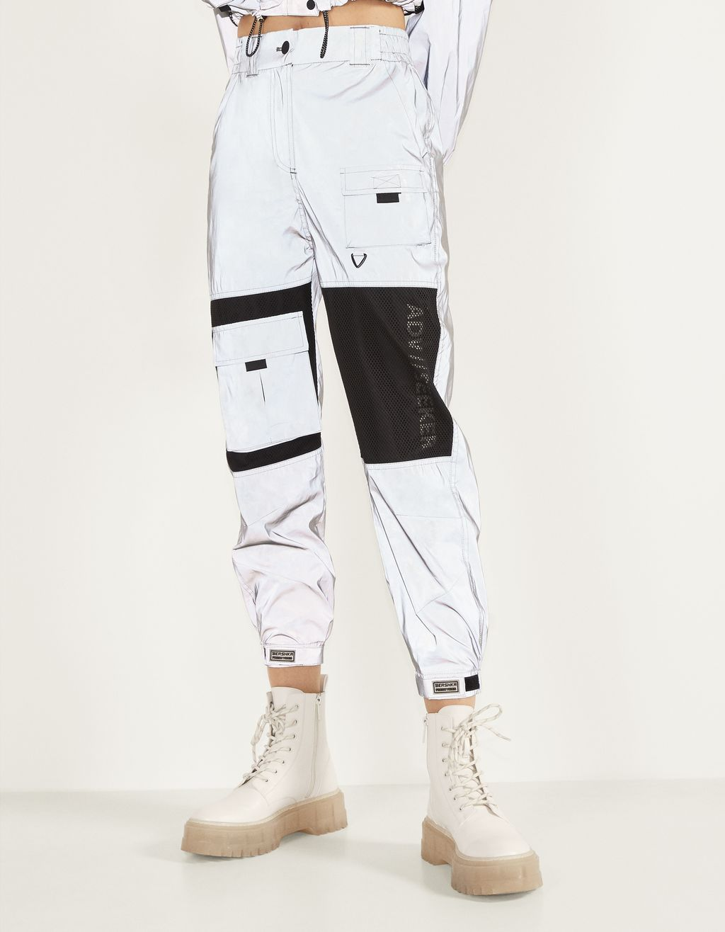 Cargo joggers with reflective detail.