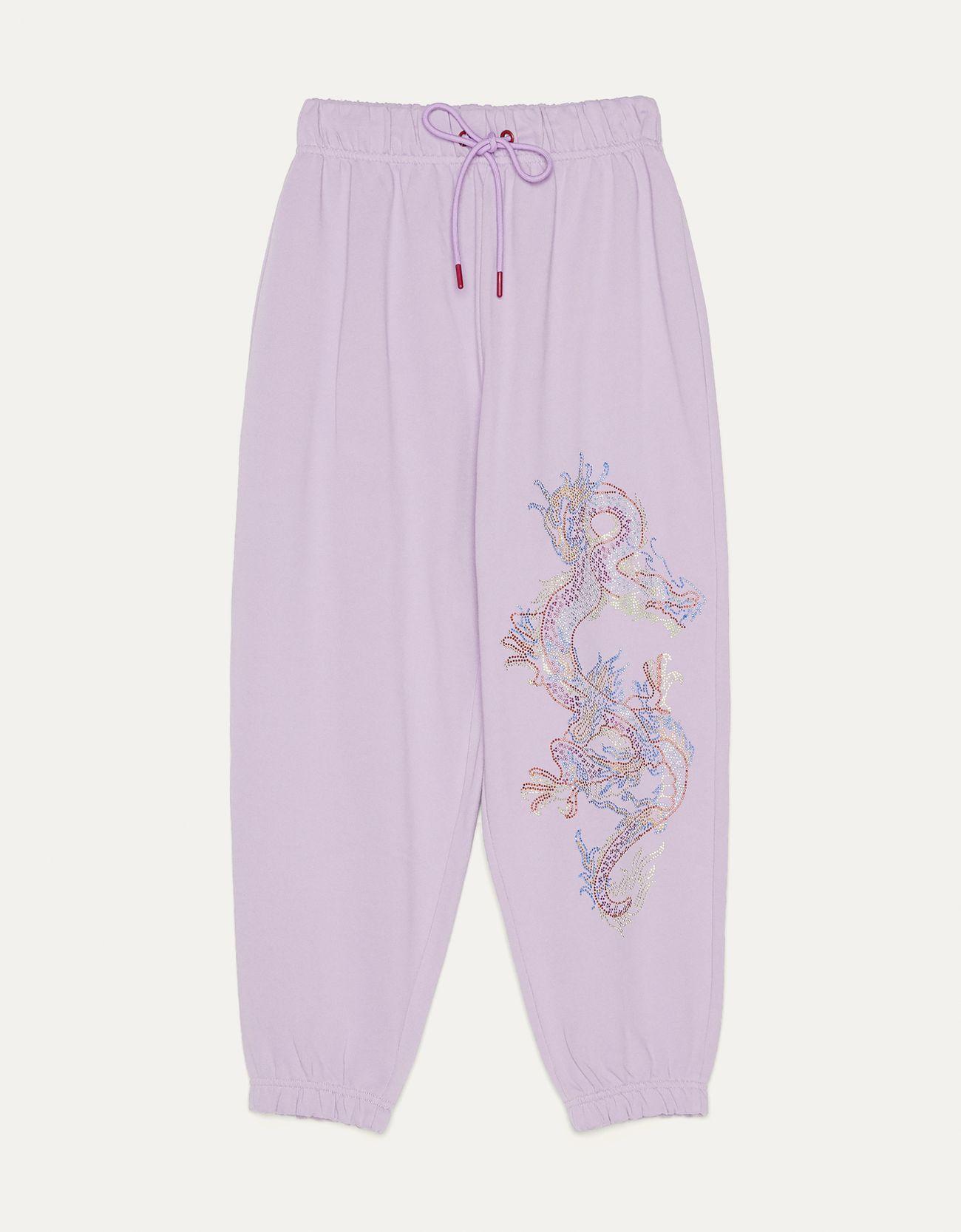 Брюки джоггеры с блестящей деталью «Дракон» Фиолетовый Bershka