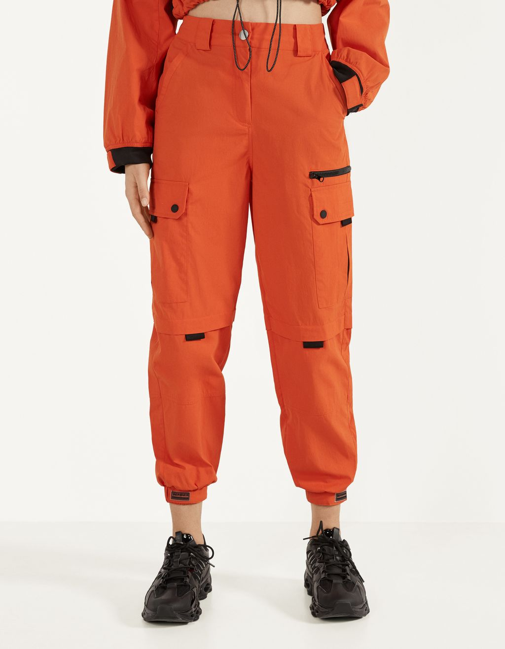 Nylon cargo jogging trousers