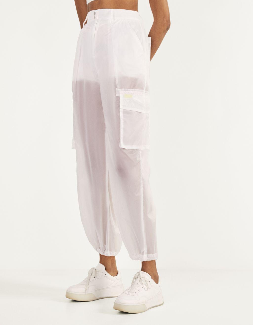Calças cargo transparentes