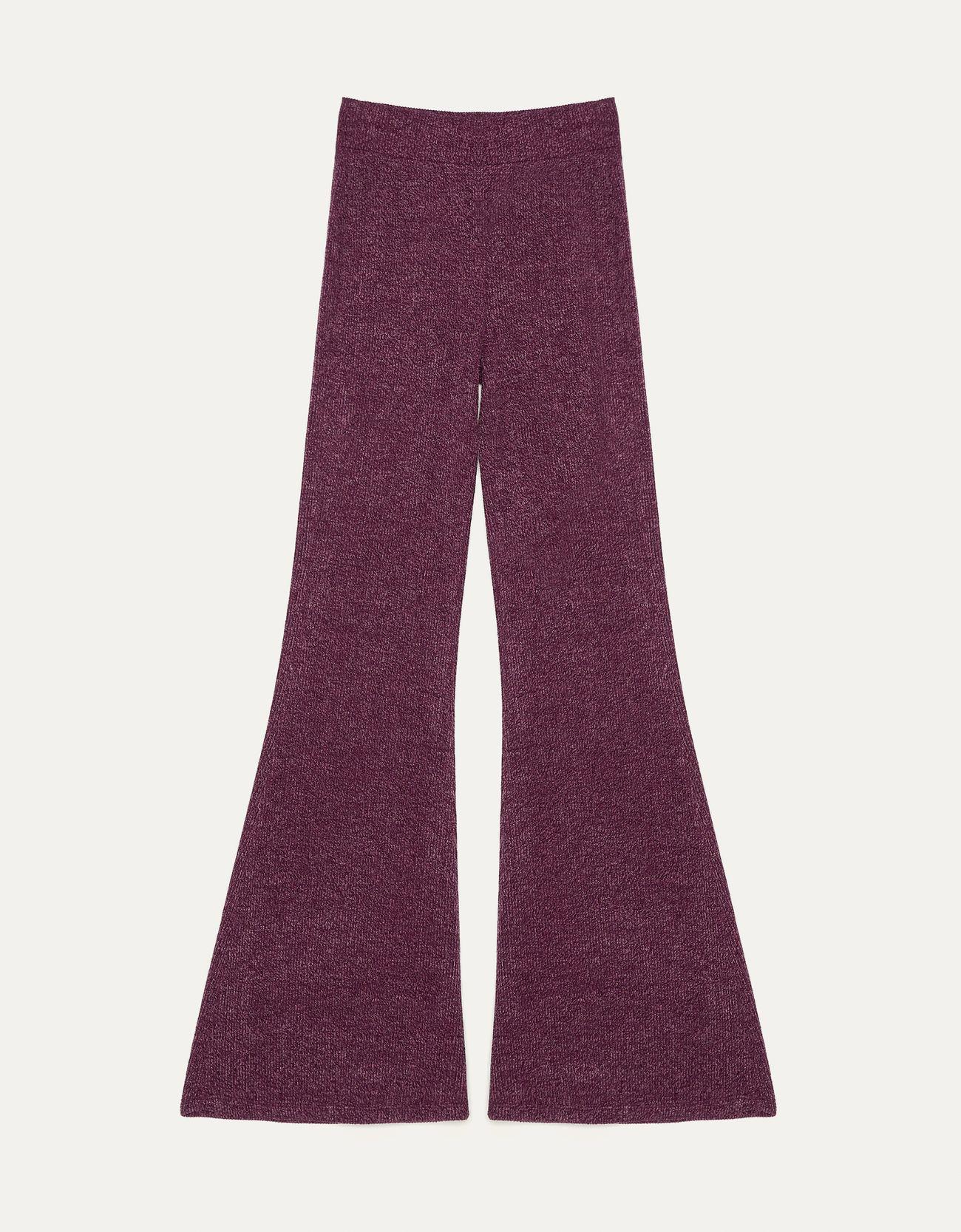 Брюки-клеш из ткани в рубчик Фиолетовый Bershka