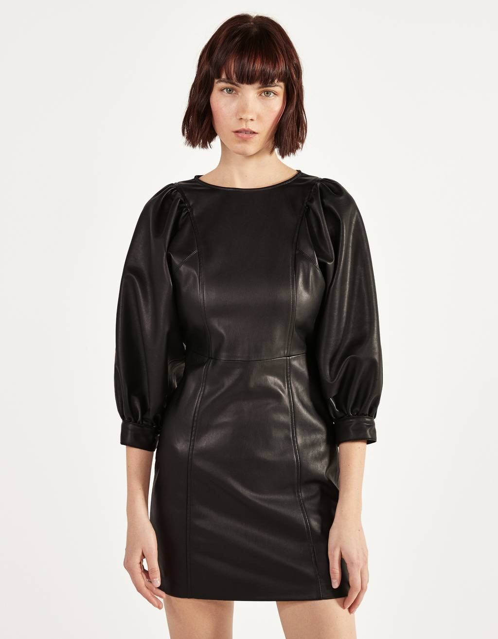 Short faux leather dress