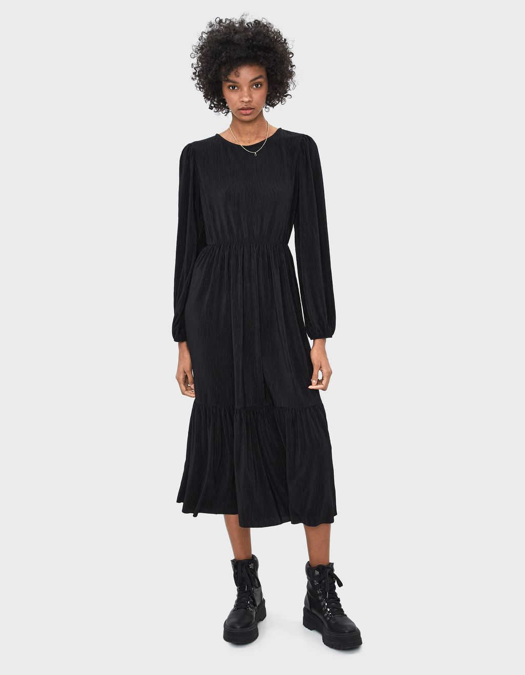 Puff sleeve pleated dress