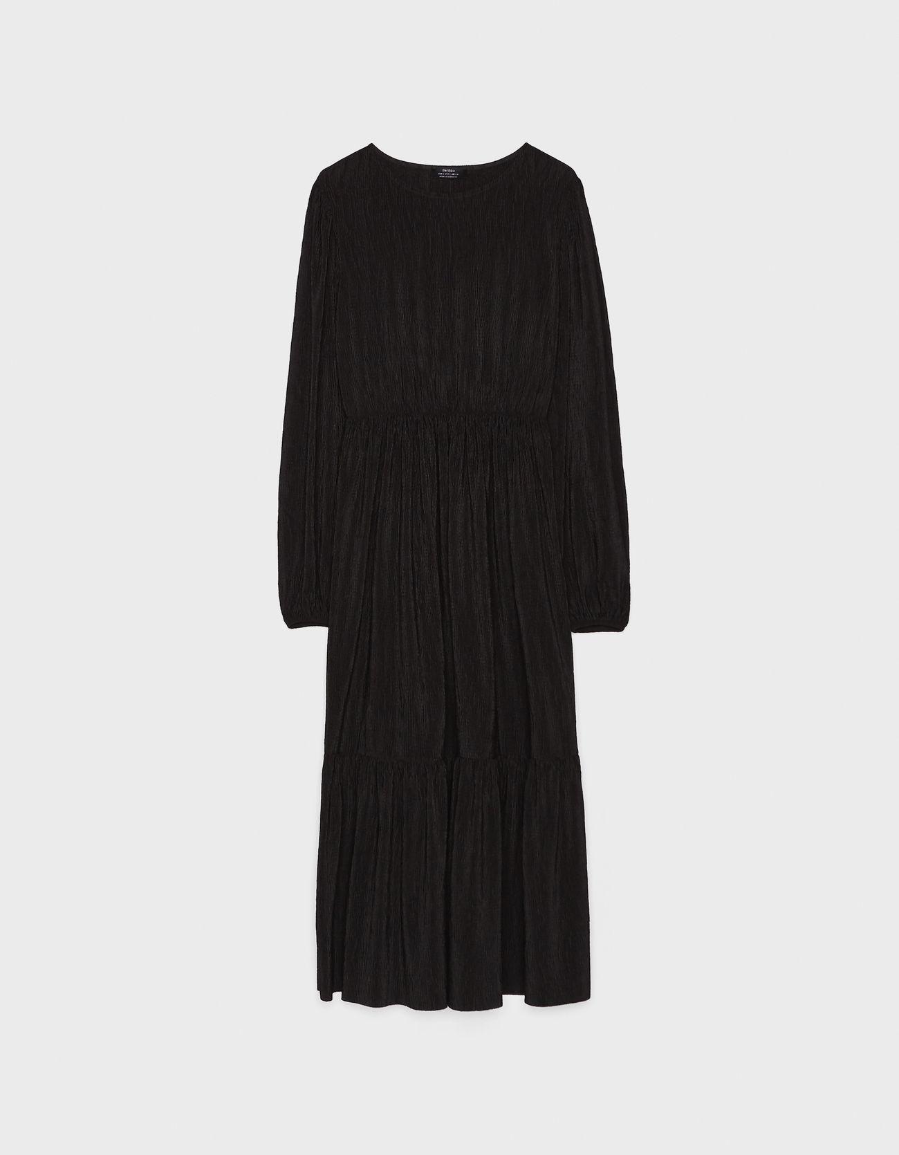 Платье с объемными рукавами ЧЕРНЫЙ Bershka