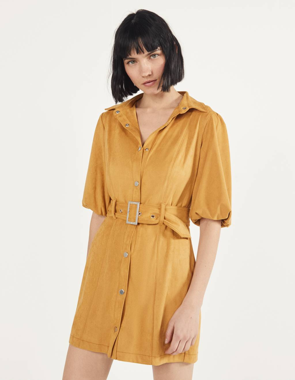 Faux suede shirt dress
