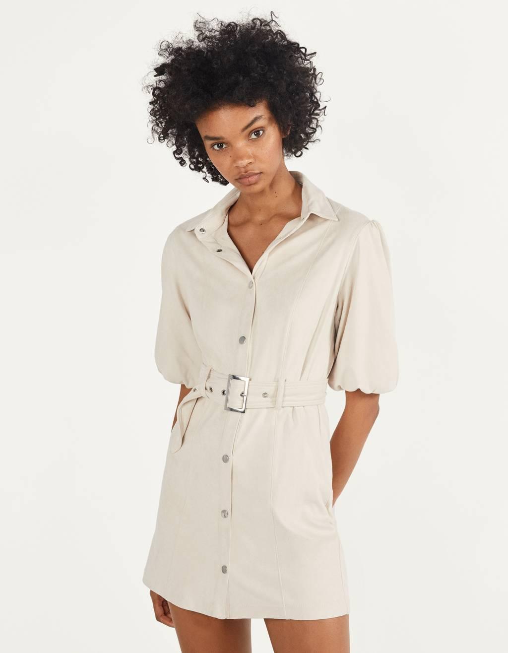 Платье-рубашка из искусственной замши