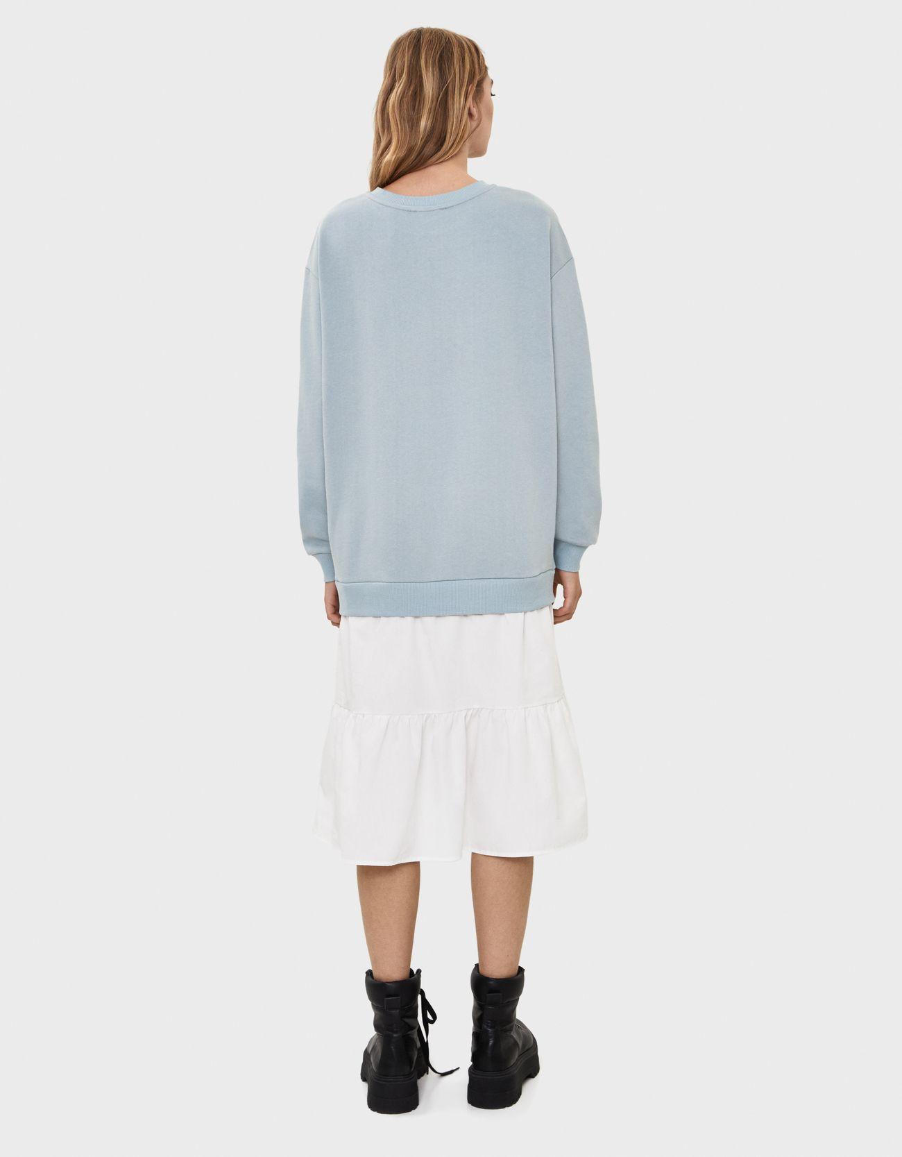 Платье из мягкой ткани с юбкой из поплина ГОЛУБОЙ Bershka