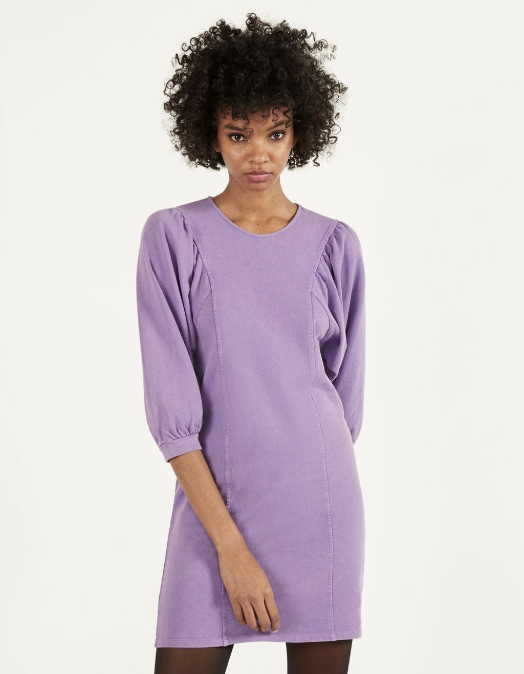 Plush dress with bishop sleeves
