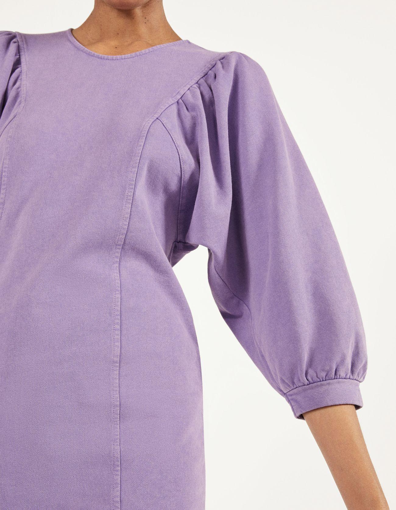 Платье из мягкой ткани с объемными рукавами Фиолетовый Bershka