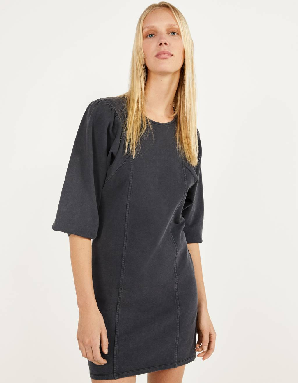 Sweatshirt material dress with bishop sleeves
