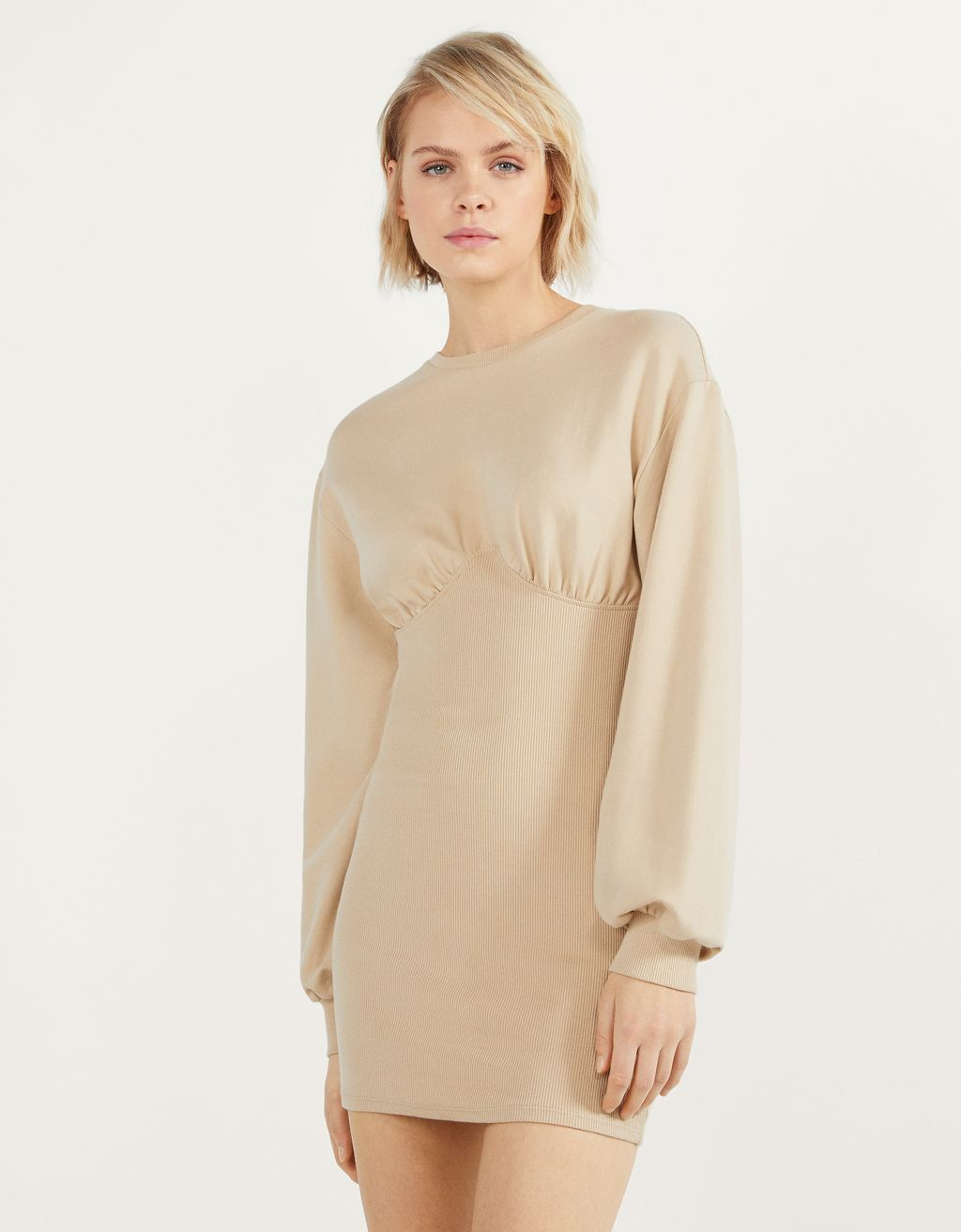 Fitted sweatshirt material dress